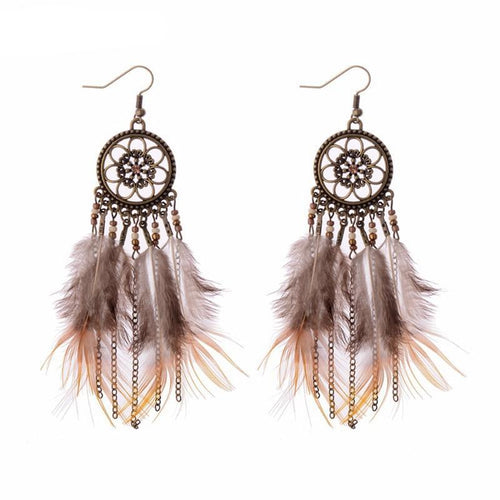 Bronze Feather Dream Catcher Drop Earrings (6 Styles & Colors)