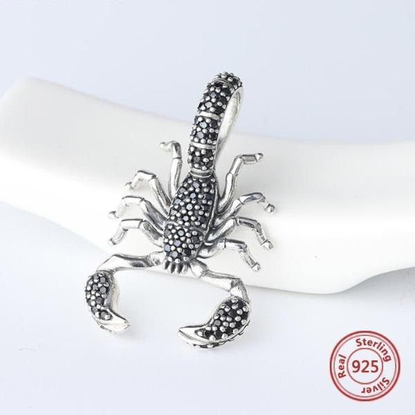 925 Sterling Silver Black Scorpion Charm