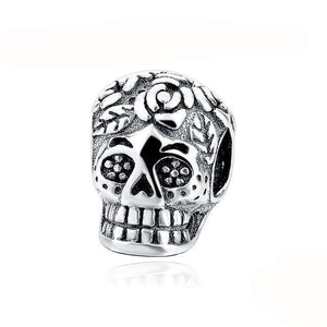 Awesome Sterling Silver Flower Skull Charm