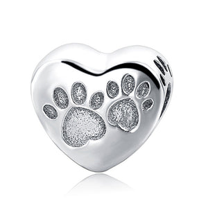 Paw Heart Sterling Silver 925 Charm Bead
