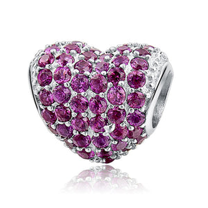 Pink Heart Sterling Silver 925 Charm Bead