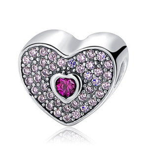 Purple Heart Sterling Silver 925 Charm Bead