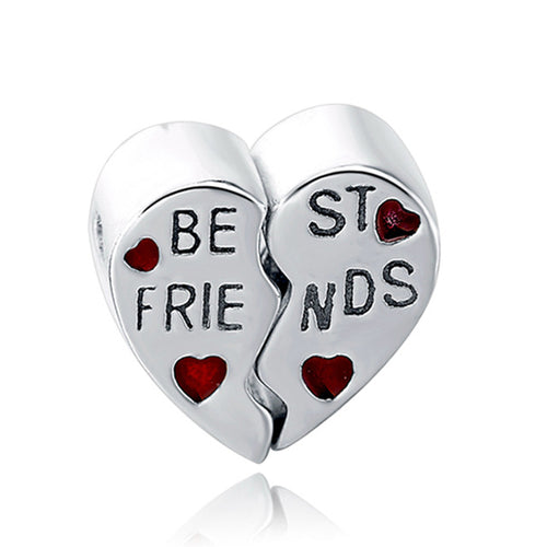 Best Friends Heart Sterling Silver 925 Charm Bead