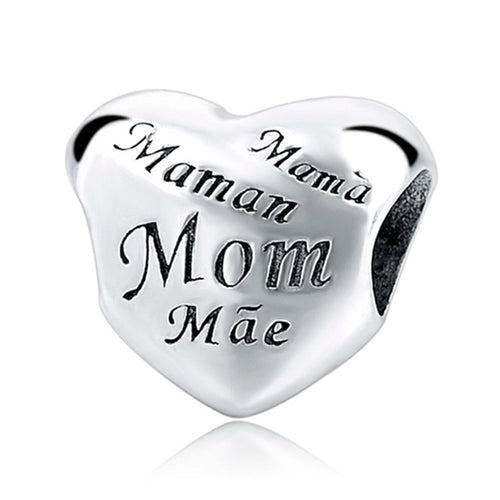 Mom Heart Sterling Silver 925 Charm Bead