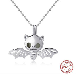 Cute 925 Sterling Silver Luminous Bat Necklace