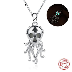 Genuine 925 Sterling Silver Luminous Octopus Skull Necklace
