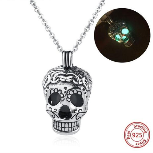 Genuine 925 Sterling Silver Luminous Sugar Skull Necklace
