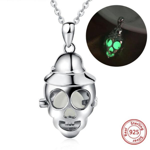 Genuine 925 Sterling Silver Luminous Lady Skull Necklace