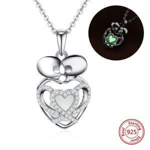 Genuine 925 Sterling Silver Luminous Kissing Skeletons Necklace  - Skull Collection