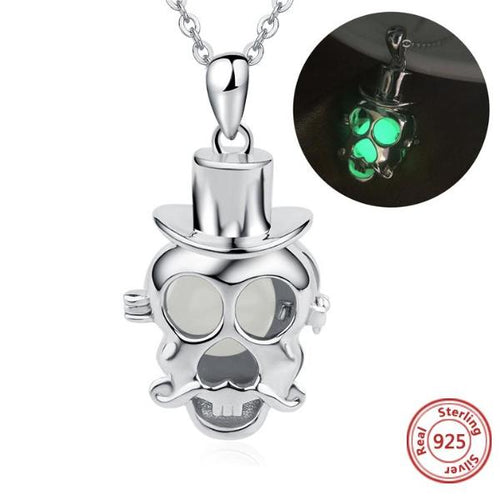 Genuine 925 Sterling Silver Luminous Skull Necklace