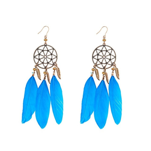 Boho Feather Dream Catcher Earrings (4 Colors)