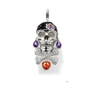 925 Sterling Silver Pendant Pirate Skull