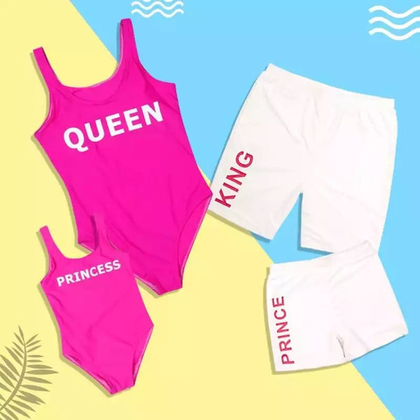 Swim - White/Pink King Swim Trunks