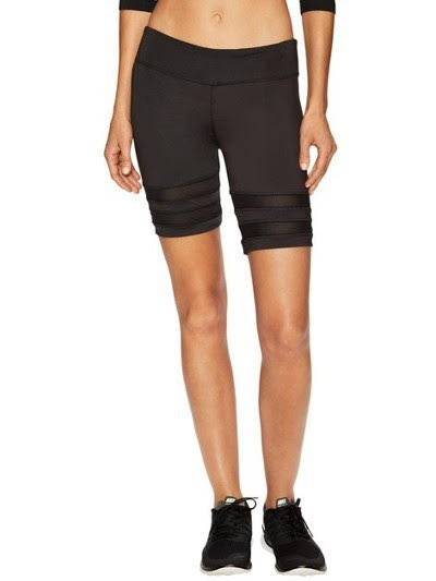 Shorts - Double Mesh Stripe Biker Shorts