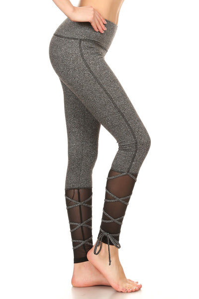 Leggings - Lace Up Leggings w/ Mesh