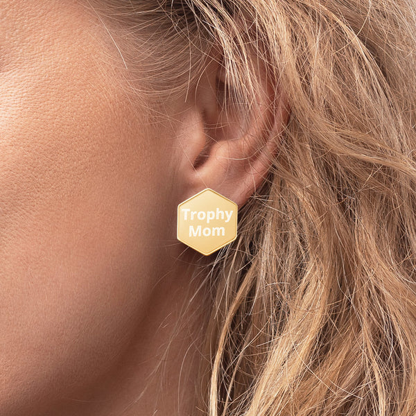 Trophy Mom Hexagon Stud Earrings