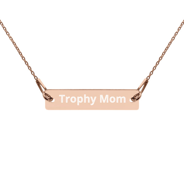 Trophy Mom Engraved Bar Chain Necklace