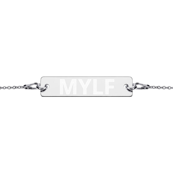 MYLF Engraved Bar Chain Bracelet