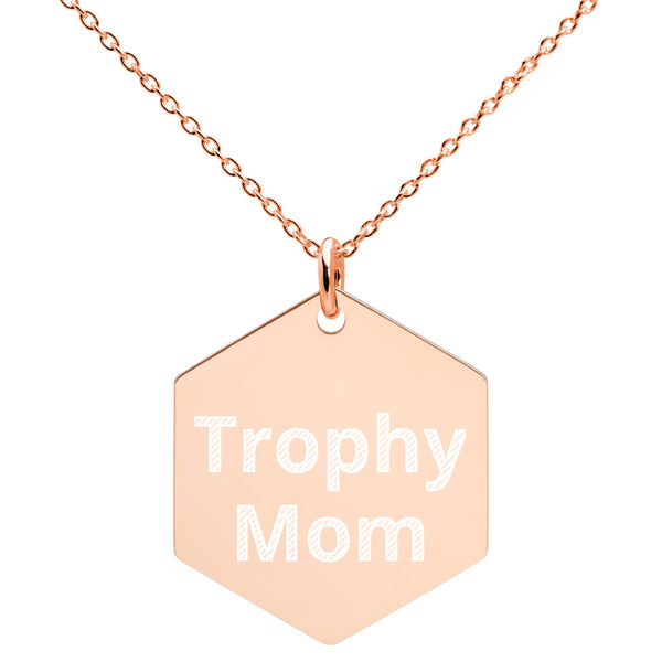 Trophy Mom Engraved Hexagon Necklace