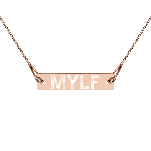 MYLF Engraved Bar Chain Necklace