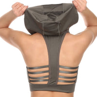 Sports Bra - Strappy Back Sports Bra with Removable Hood
