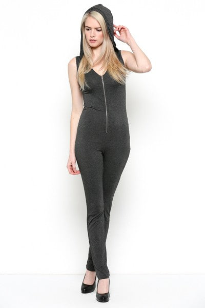 Charcoal Zipper Jumpsuit
