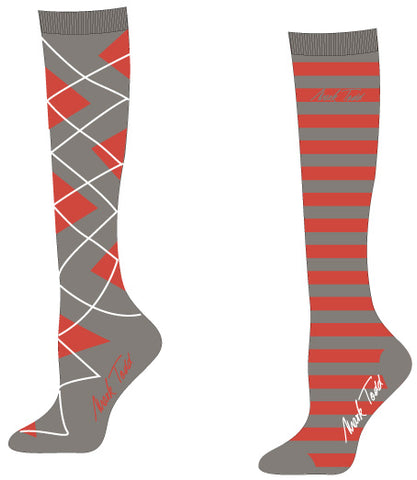Mark Todd Collection Socks-Ladies Argyle & Stripe-Long