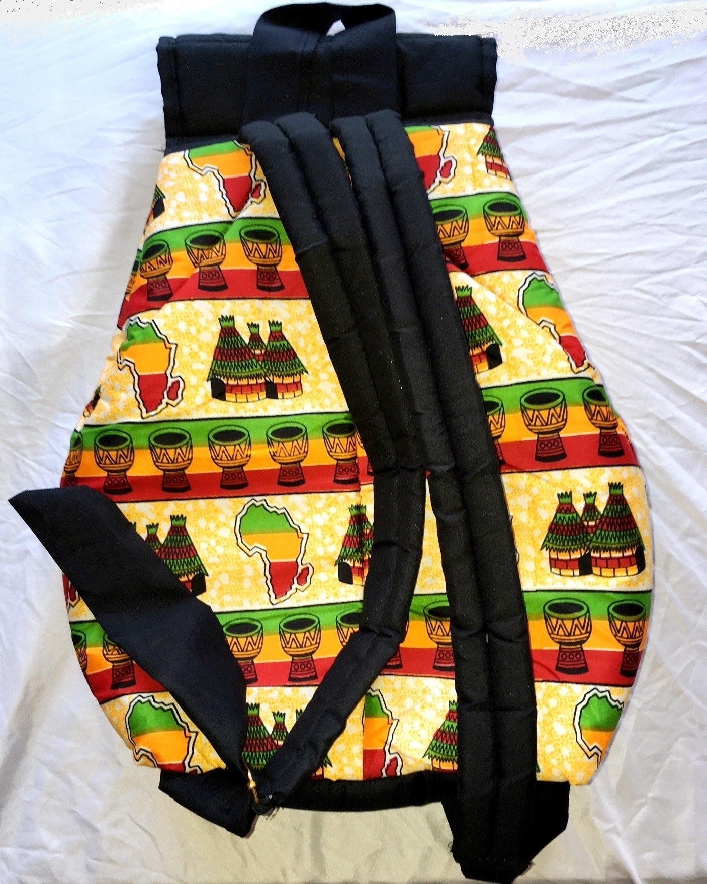 Burkina Bag Handmade African Village Design Insulated Daybag Backpack w/ Straps - Trekking Hiking Walking, backpack - Collapsible Folding Pole,Earth Trek Gear - EarthTrek Gear
