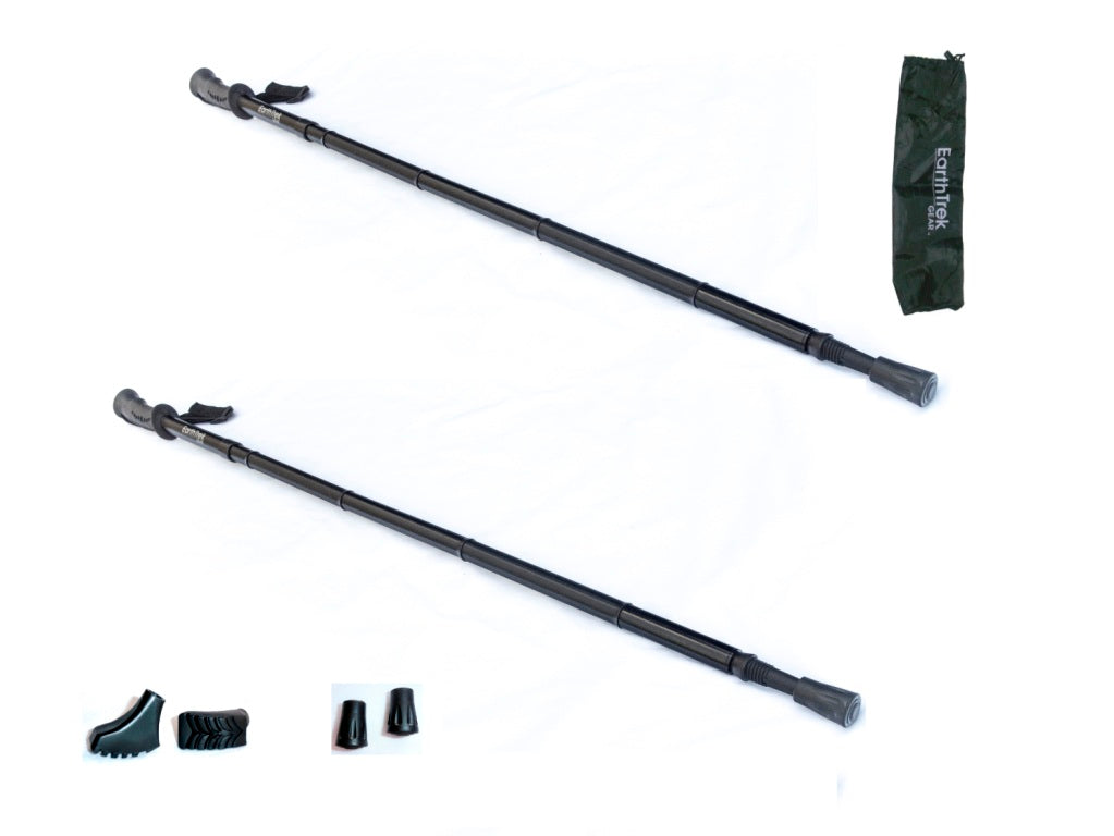 EarthTrek Deluxe Trekking Pole Hiker's Trail Set - all accessories
