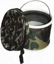 Trekbucket Camo Collapsible Camp Car Bucket 2 Set - Trekking Hiking Walking, Bucket - Collapsible Folding Pole,Pine Creek Outdoors - EarthTrek Gear