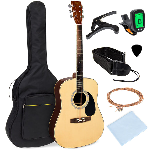 41in Acoustic Guitar Starter Kit w/ Case, Pick, Strap, Extra Strings - Natural