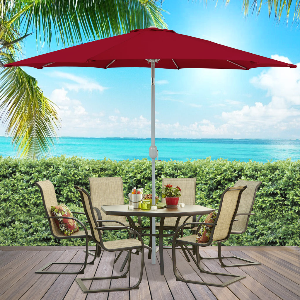 9 FT Tilt Market Patio Umbrella - Burgundy