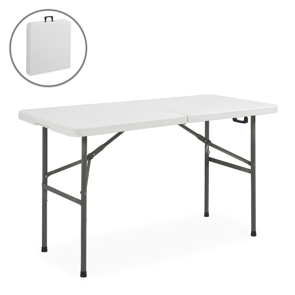4ft Portable Folding Plastic Dining Table w/ Handle, Lock - White