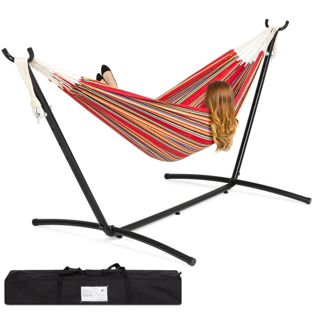 Double Hammock w/ Steel Stand, Carrying Case - Red Stripe