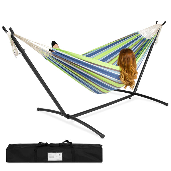 Double Hammock w/ Steel Stand, Carrying Case - Blue, Green Stripe