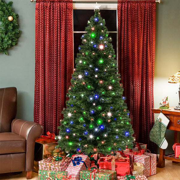 7ft Fiber Optic Artificial Christmas Pine Tree w/ 280 Lights, Stand - Green