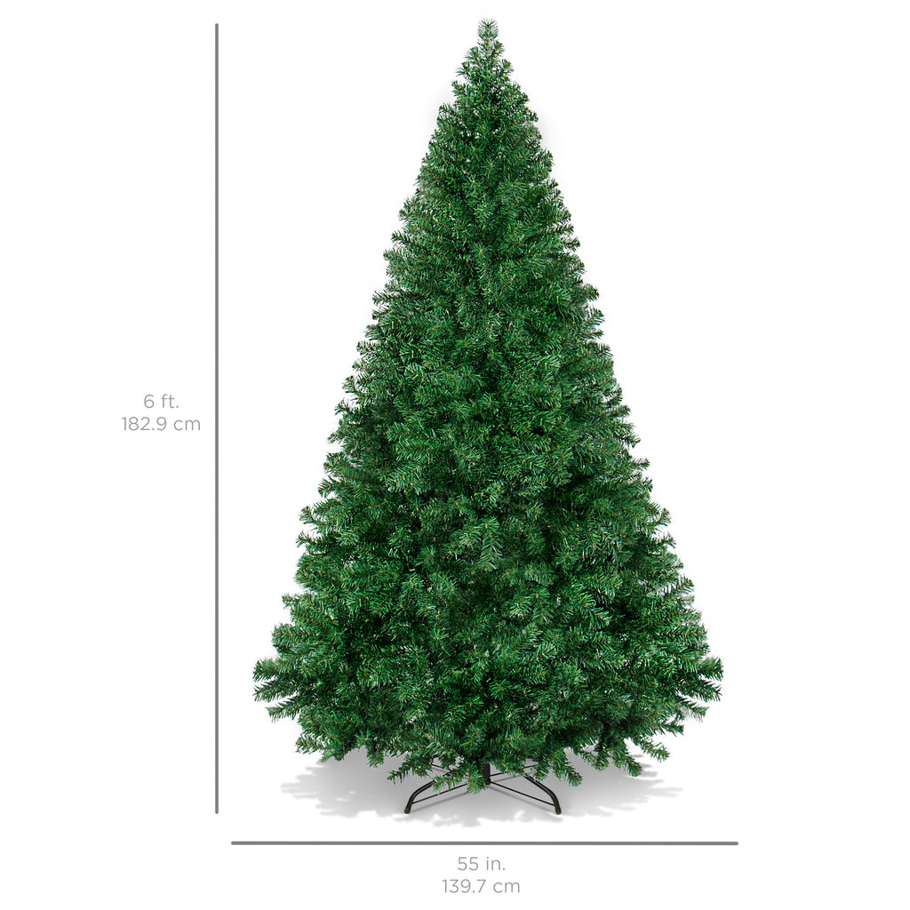 6ft Hinged Artificial Christmas Pine Tree w/ Metal Legs - Green