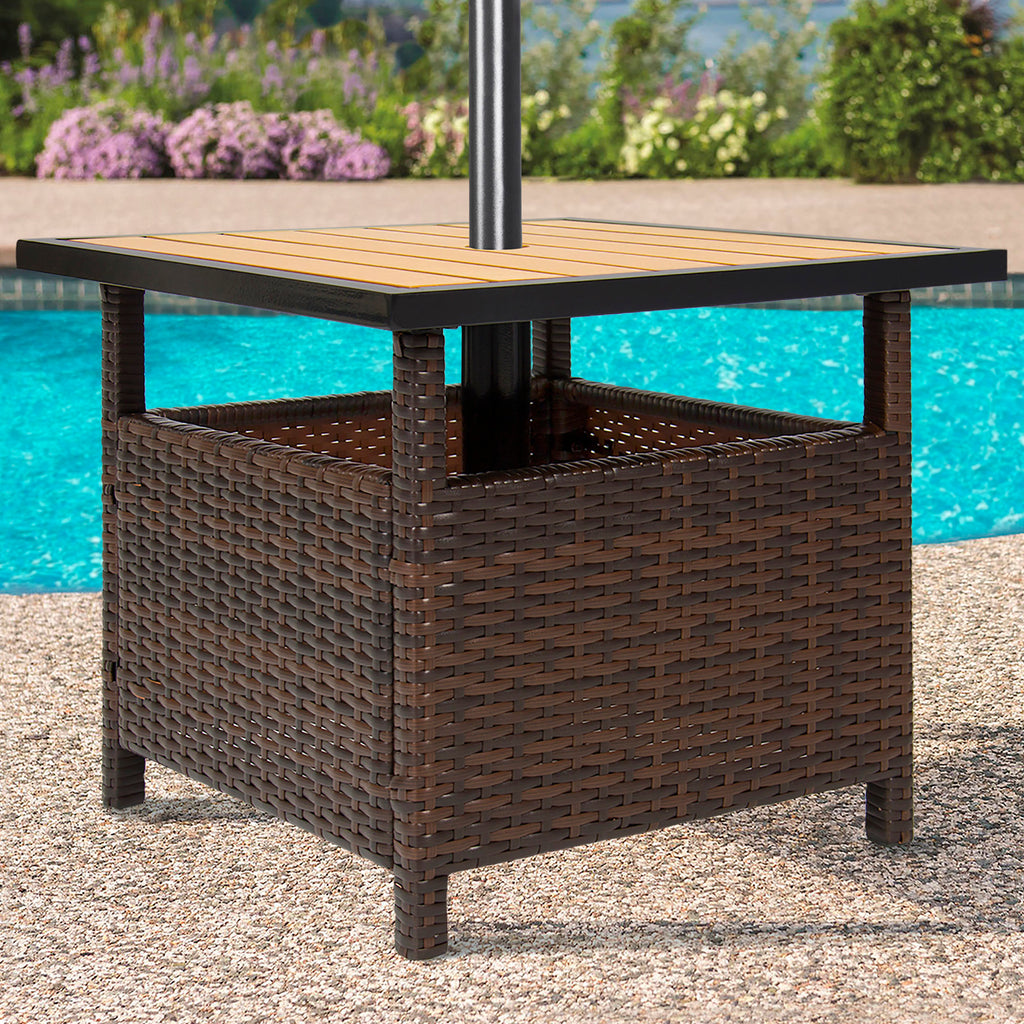 Wicker Patio Umbrella Stand Table - Brown
