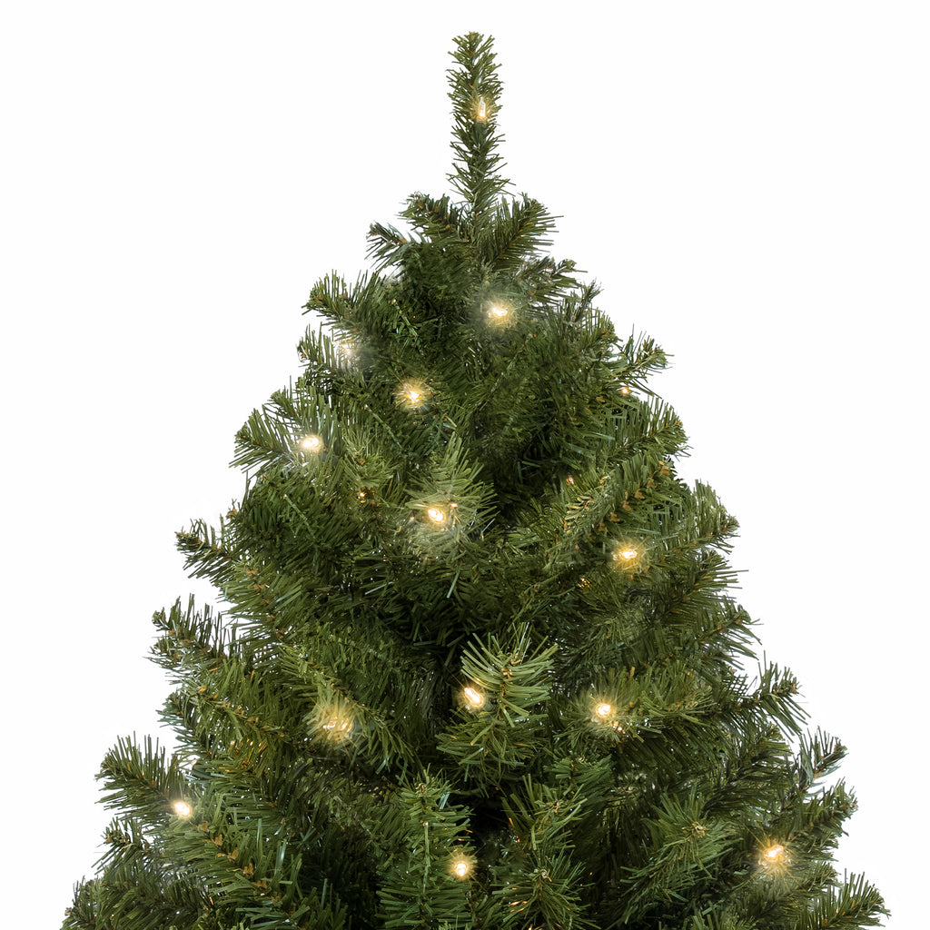 7.5ft Pre-Lit Spruce Hinged Artificial Christmas Tree w/ Stand - Green