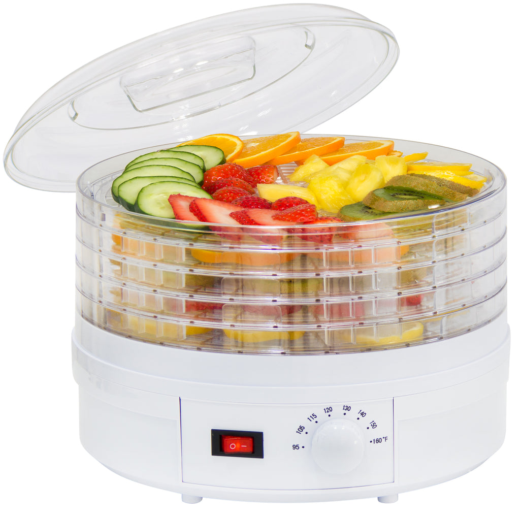 5-Tray Portable Food Dehydrator w/ Adjustable Thermostat - White