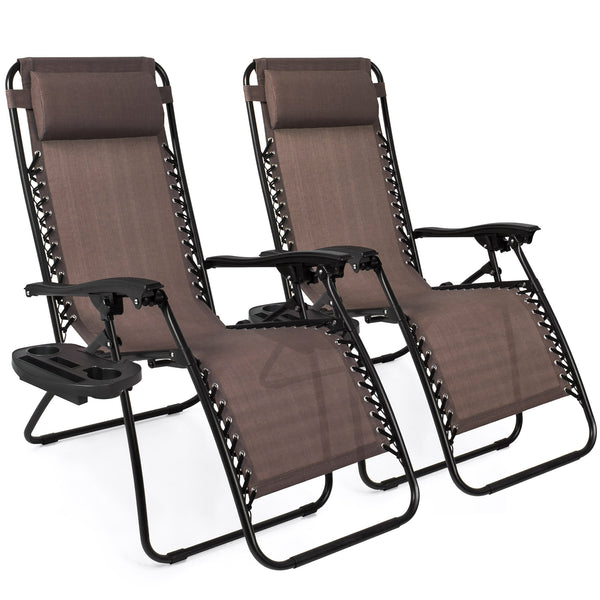 Set of 2 Zero Gravity Chairs w/ Cup Holders - Brown
