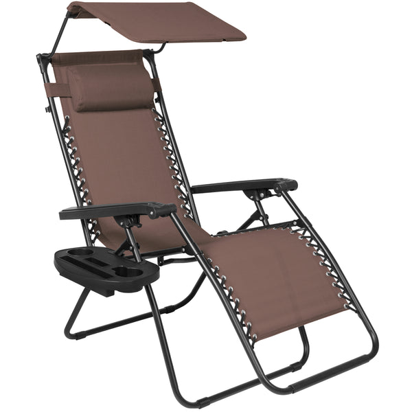 Folding Zero Gravity Recliner Lounge Chair w/ Canopy Shade & Magazine Cup Holder (Brown)