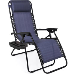 Set of 2 Zero Gravity Chairs w/ Cup Holders - Blue