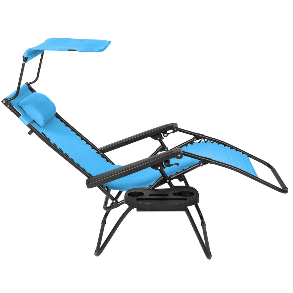 Folding Zero Gravity Recliner Lounge Chair w/ Canopy Shade & Magazine Cup Holder (Light Blue)