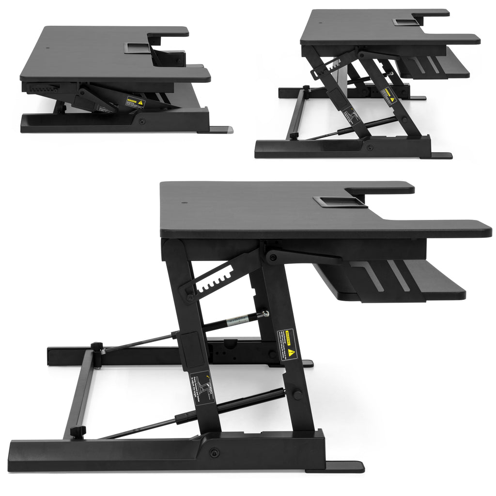 36in 2-Tier Height Adjustable Standing Tabletop Desk Riser - Black