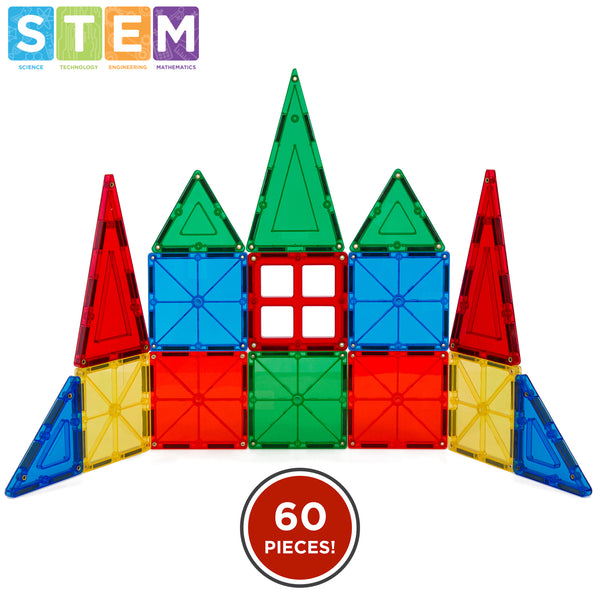 32-Piece Kids Magnetic Building Tiles Toy Set w/ Carrying Case - Multicolor