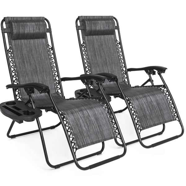Set of 2 Zero Gravity Chairs w/ Cup Holders - Gray
