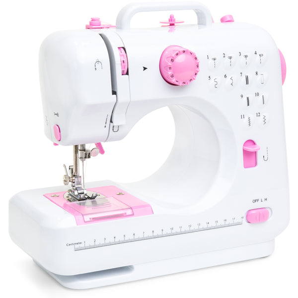 6V Compact Sewing Machine w/ 12 Stitch Patterns - White