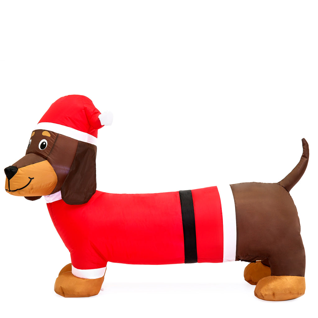 4ft Inflatable Christmas Santa Wiener Dog w/ LED Lights - Red/Brown