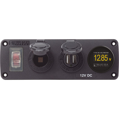 Blue Sea 4366 Water Resistant Accessory Panel – Circuit Breaker, 12V Socket, Dual USB Charger, Mini OLED Volt Meter
